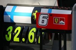 The pit board of Kimi Raikkonen