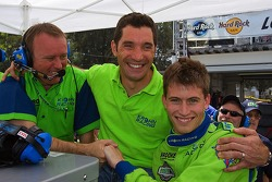Pole winner Colin Braun is congratulated by teammate Max Papis and race engineer David Brown