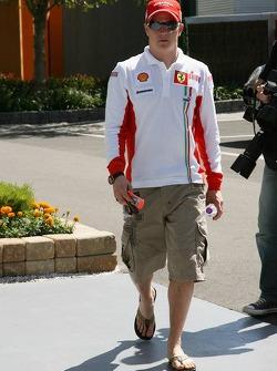 Kimi Raikkonen, Scuderia Ferrari, arrives at the circuit
