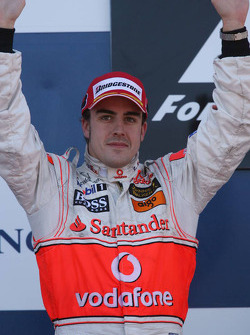 Podium: second place Fernando Alonso celebrates