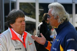 Norbert Haug, Mercedes, Motorsport chief and Flavio Briatore, Renault F1 Team, Team Chief, Managing Director