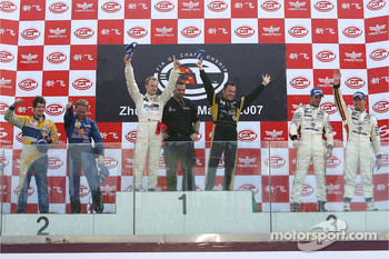 GT1 podium: class and overall winners Stefan Mcke and Christophe Bouchut, second place Luke Hines and Philipp Peter, third place Anthony Kumpen and Bert Longin