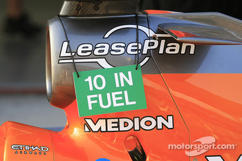 Fuel message on the Spyker F1