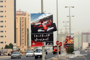 Race advertising boards in the city