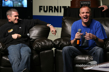 Bobby Labonte and Kenny Wallace on stage, during the Fandango Exclusive Season Ticket Holders party at Texas Motor Speedway