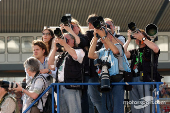 Photographers during the podium