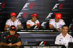 FIA Thursday press conference: Fernando Alonso, McLaren Mercedes, Felipe Massa, Scuderia Ferrari, Pedro de la Rosa, Test Driver, McLaren Mercedes, Rubens Barrichello, Honda Racing F1 Team, Vitantonio Liuzzi, Scuderia Toro Rosso