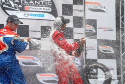 Podium: champagne for Carl Skerlong and Raphael Matos