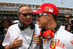 Michael Schumacher, Scuderia Ferrari, Advisor, on the grid with Mansour Ojjeh