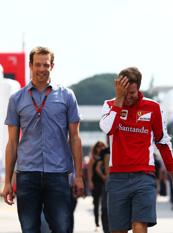 (L to R): Alexander Wurz, Williams Driver Mentor with Sebastian Vettel, Ferrari
