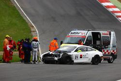 #84 Bentley Team HTP Bentley Continental GT3: Mike Parisy, Harold Primat, Vincent Abril in a huge crash