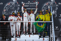 Podium: winners Robin Frijns, Laurens Vanthoor, second place Enzo Ide, Christopher Mies, third place Atila Abreu, Valdeno Brito