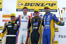 Podium: race winner Adam Morgan, second place Andrew Jordan, third place Sam Tordoff, JST Winner Josh Cook