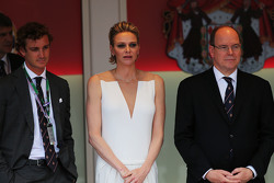 HSH Prince Albert of Monaco, with his wife Princess Charlene of Monaco on the podium
