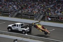The wrecked car of Sebastian Saavedra, Chip Ganassi Racing Chevrolet