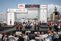 Podium: winners Sébastien Ogier and Julien Ingrassia, Volkswagen Polo WRC, Volkswagen Motorsport, second place Hayden Paddon and John Kennard, Hyundai i20 WRC, Hyundai Motorsport, third place Thierry Neuville and Nicolas Gilsoul, Hyundai i20 WRC, Hyundai