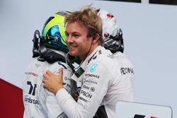 Race winner Nico Rosberg, Mercedes AMG F1 celebrates with team mate Lewis Hamilton, Mercedes AMG F1 and Felipe Massa, Williams in parc ferme