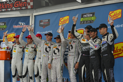 GTD Podium: Race winners #93 Riley Motorsports Dodge Viper SRT: Al Carter, Cameron Lawrence, Marc Goossens, second place #44 Magnus Racing Porsche 911 GT America: John Potter, Andy Lally, Marco Seefried and third place #48 Paul Miller Racing Audi R8 LMS: Christopher Haase, Dion von Moltke, Bryce Miller
