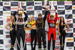 GTS podium: Race winner Andrew Aquilante, second place Ben Clucas  and third place Jack Baldwin