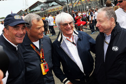 Nigel Mansell, with Sir Martin Sorrell, WPP CEO; Bernie Ecclestone, and Jean Todt, FIA President
