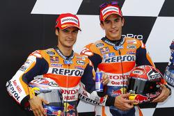 Second place qualifier Dani Pedrosa and polesitter Marc Marquez, Repsol Honda Team