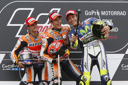Podium: second place Dani Pedrosa and winner Marc Marquez, Repsol Honda Team and third place Valentino Rossi, Yamaha Factory Racing