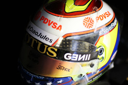 The helmet of Pastor Maldonado, Lotus F1 Team carries a tribute to Jules Bianchi