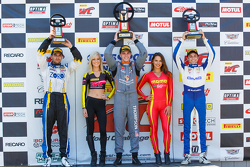 GT Cup Podium: Race winner Colin Thompson, second place Alec Udell, and third place Brett Sandberg
