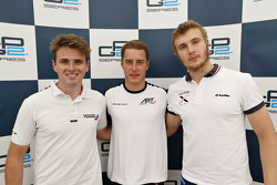 Second place Oliver Rowland, MP Motorsport and polesitter Stoffel Vandoorne, ART Grand Prix and third place Sergey Sirotkin, Rapax