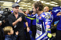 Brad Pitt and winner Valentino Rossi, Yamaha Factory Racing