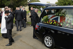 The casket of Justin Wilson during funeral proceedings