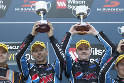 Podium: winner Mark Winterbottom and Steve Owen, Prodrive Racing Australia Ford celebrate their victory