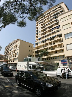 The general public drive the streets of Monaco while everyone sets up