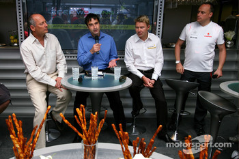 Ron Dennis, McLaren, Team Principal, Chairman and Mika Hakkinen, Ex F1 World Champion, Global Responsible Drinking Ambassador for Johnnie Walker
