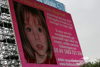 An appeal for information to find missing British girl Madeleine McCann on the screens at the circuit