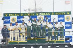 GT1 podium: class winners David Brabham, Rickard Rydell, Darren Turner, second place Johnny O'Connell, Jan Magnussen, Ron Fellows, third place Christophe Bouchut, Fabrizio Gollin, Casper Elgaard