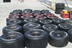 A large assortment of tires for practice and qualifying