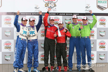 Podium: winners Alex Gurney and Jon Fogarty, second place Scott Pruett and Memo Rojas, third place Colin Braun and Max Papis