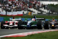 Rubens Barrichello, Honda Racing F1 Team, RA107 and Ralf Schumacher, Toyota Racing, TF107
