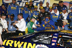 Victory lane: race winner Jamie McMurray celebrates
