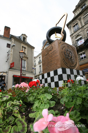 The 24 Hours of Le Mans monument in downtown Le Mans