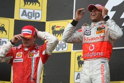 Podium: race winner Lewis Hamilton with second place Kimi Raikkonen