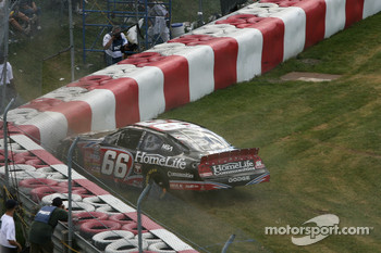 Steve Wallace in the tire wall