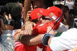Felipe Massa, Scuderia Ferrari hugs his father Lewis Antionio Massa