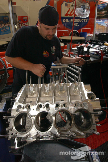 Re-assembly work on one of Mike Ashley's nitro motors