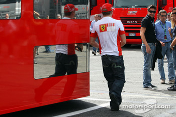 Kimi Raikkonen, Scuderia Ferrari arrives a bit late for the FIA Press Conference