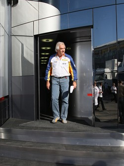 Flavio Briatore, Renault F1 Team, Team Chief, Managing Director visits the  McLaren Mercedes motorhome