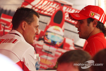 Michael Schumacher, Scuderia Ferrari, Advisor talks with Felipe Massa, Scuderia Ferrari