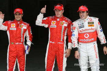 Qualifying results, 2nd place Felipe Massa, Scuderia Ferrari with 1st place Kimi Raikkonen, Scuderia Ferrari and 3rd place Fernando Alonso, McLaren Mercedes