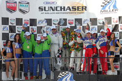DP podium: class and overall winners Jim Matthews, Marc Goossens and Ryan Hunter-Reay, second place Kris Szekeres, Tomas Enge and Ryan Dalziel, third place Nic Jonsson and Colin Braun
